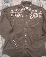 Rockmount Ranch Wear Men's Vintage Western Shirt: Fancy Brown With Floral Embroidery Brown S-XL