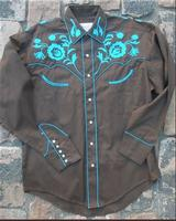 Rockmount Ranch Wear Men's Vintage Western Shirt: Fancy Brown With Floral Embroidery Turquoise S-XL