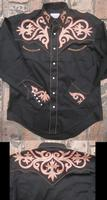 Rockmount Ranch Wear Men's Vintage Western Shirt: Fancy Tooled Chenille Black S-XL