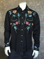 Rockmount Ranch Wear Men's Vintage Western Shirt: Fancy Floral on Black 2X