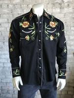 Rockmount Ranch Wear Men's Vintage Western Shirt: Fancy Flowers of Chenille Embroidery Black 2X