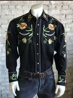 B Rockmount Ranch Wear Men's Vintage Western Shirt: Fancy Flowers of Chenille Embroidery Black Backorder