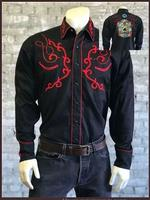 Rockmount Ranch Wear Men's Vintage Western Shirt: Fancy Skull Sugar Embroidery S-XL