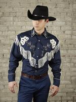 B Rockmount Ranch Wear Men's Vintage Western Shirt: Fancy Fringe Navy Blue Backordered