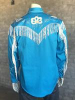 Rockmount Ranch Wear Men's Vintage Western Shirt: Fancy Fringe Turquoise 2X
