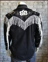 B Rockmount Ranch Wear Men's Vintage Western Shirt: Fancy Fringe Black 2X -3X Backordered