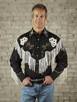 B Rockmount Ranch Wear Men's Vintage Western Shirt: Fancy Fringe Black Backordered