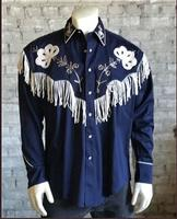 B Rockmount Ranch Wear Men's Vintage Western Shirt: Fancy Fringe Navy Blue 2X Backordered