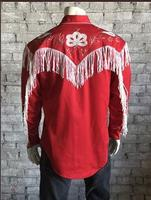 B Rockmount Ranch Wear Men's Vintage Western Shirt: Fancy Fringe Red 2X Backordered