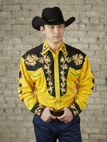 Rockmount Ranch Wear Men's Vintage Western Shirt: Fancy Two Tone Floral Gold and Black
