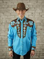 Rockmount Ranch Wear Men's Vintage Western Shirt: Fancy Two Tone Floral Turquoise Blue and Brown 2X