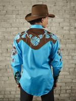 Rockmount Ranch Wear Men's Vintage Western Shirt: Fancy Two Tone Floral Turquoise Blue and Brown Backordered