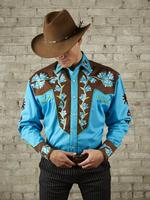 Rockmount Ranch Wear Men's Vintage Western Shirt: Fancy Two Tone Floral Turquoise Blue and Brown