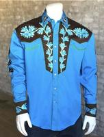 Rockmount Ranch Wear Men's Vintage Western Shirt: Fancy Two Tone Floral Turquoise Blue and Brown 2X Backordered
