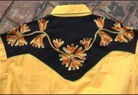 Rockmount Ranch Wear Men's Vintage Western Shirt: Fancy Two Tone Floral Gold and Black 2X