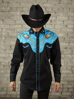 B Rockmount Ranch Wear Men's Vintage Western Shirt: Fancy Atomic Cowboy Rockets Turquoise 2X Backordered