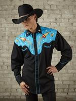 B Rockmount Ranch Wear Men's Vintage Western Shirt: Fancy Atomic Cowboy Rockets Turquoise Backordered