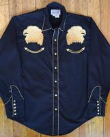 Rockmount Ranch Wear Men's Vintage Western Shirt: A Bald Eagle Black L-XL