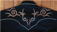 Rockmount Ranch Wear Men's Vintage Western Shirt: A A Saddle Scroll Tooling Embroidery Black 2XL