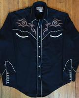 Rockmount Ranch Wear Men's Vintage Western Shirt: A A Saddle Scroll Tooling Embroidery Black S-XL