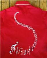 Rockmount Ranch Wear Men's Vintage Western Shirt: A Melody Musical Notes Red 2XL