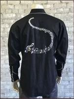 Rockmount Ranch Wear Men's Vintage Western Shirt: A Melody Musical Notes Black 2XL