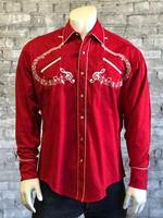 ZSold Rockmount Ranch Wear Men's Vintage Western Shirt: A Melody Musical Notes Red SOLD