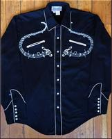 Rockmount Ranch Wear Men's Vintage Western Shirt: A Melody Musical Notes Black S-XL