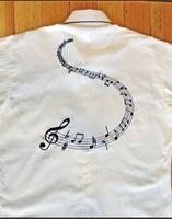 Rockmount Ranch Wear Men's Vintage Western Shirt: A Melody Musical Notes  Ivory 2XL