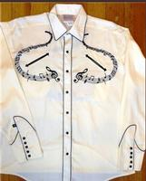 Rockmount Ranch Wear Men's Vintage Western Shirt: A Melody Musical Notes Ivory S-XL