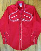 Rockmount Ranch Wear Men's Vintage Western Shirt: A Melody Musical Notes Red S-XL