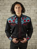 B Rockmount Ranch Wear Men's Vintage Western Shirt: Fancy Red Floral Black Backordered
