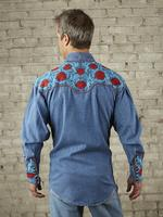 Rockmount Ranch Wear Men's Vintage Western Shirt: Fancy Red Floral Denim 2X