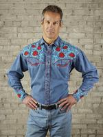 Rockmount Ranch Wear Men's Vintage Western Shirt: Fancy Red Floral Denim