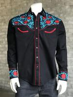 B Rockmount Ranch Wear Men's Vintage Western Shirt: Fancy Red  Floral Black 2X Backordered
