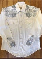 Rockmount Ranch Wear Men's Vintage Western Shirt: A A Two Tone Embroidery Ivory S-XL