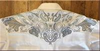 Rockmount Ranch Wear Men's Vintage Western Shirt: A A Two Tone Embroidery Ivory 2XL