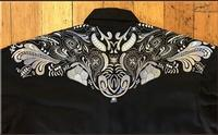 Rockmount Ranch Wear Men's Vintage Western Shirt: A Two Tone Embroidery Black 2XL