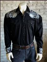 Rockmount Ranch Wear Men's Vintage Western Shirt: A Two Tone Embroidery Black