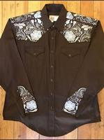 Rockmount Ranch Wear Men's Vintage Western Shirt: A A Two Tone Embroidery Brown S-XL