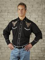 Rockmount Ranch Wear Men's Vintage Western Shirt: Eagle on Black