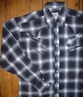 Rockmount Ranch Wear Men's Vintage Western Shirt: Shadow Plaid w Guitars Black and Blue S-2XL