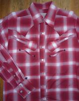 Rockmount Ranch Wear Men's Vintage Western Shirt: Shadow Plaid w Guitars Red S-2XL