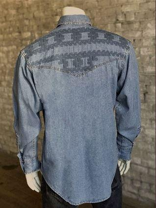 Rockmount Ranch Wear Men's Vintage Western Shirt: A Native Crossroads Denim 2XL