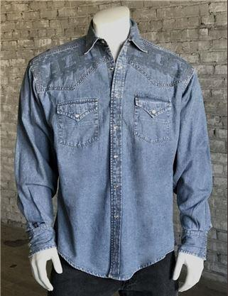 Rockmount Ranch Wear Men's Vintage Western Shirt: A A Native Crossroads Denim S-XL