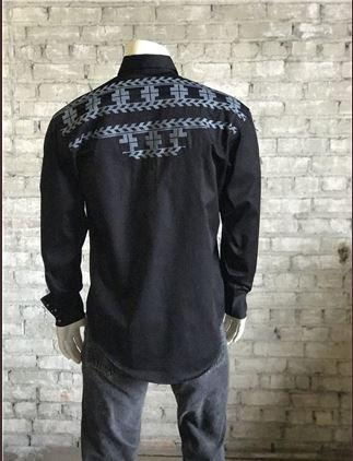 Rockmount Ranch Wear Men's Vintage Western Shirt: A Native Crossroads Black 2XL