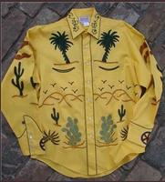 Rockmount Ranch Wear Men's Vintage Western Shirt: Fancy Palm Trees and Wagon Wheels Gold S-XL