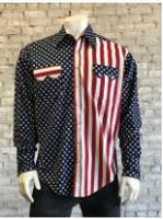 B Rockmount Ranch Wear Men's Vintage Western Shirt: American Flag 2-Tone Backorder