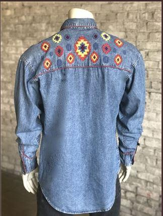 Rockmount Ranch Wear Men's Vintage Western Shirt: Denim Native Design 2X