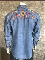 ZSold Rockmount Ranch Wear Men's Vintage Western Shirt: Denim Native Design 2XL SOLD